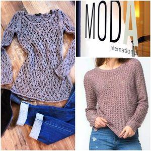 Moda International Open Knit Crochet Sweater